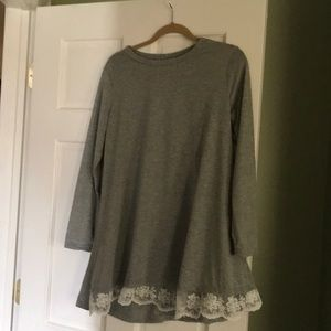 Tops - T-shirt with swinging lace bottom. NWOT
